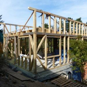 tesařská konstrukce úspěšně roste; dřevo jsme připravili zimní těžbou, aby bylo pro stavbu co nejlepší ... jako to činili naši pradědové