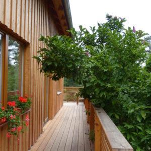 bohatá dřevěná terasa na dvou stranách domku a přejeme investorovi s rodinou příjemné bydlení!